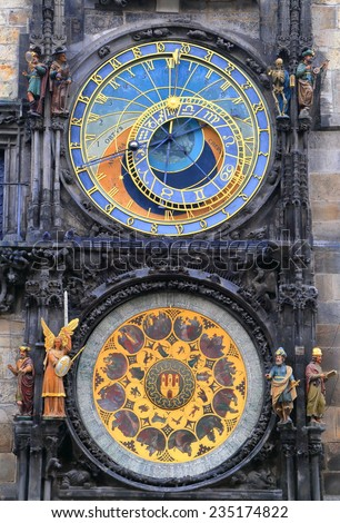 Detail of the Astronomical Clock on a building in Prague Old Town, Czech Republic - stock photo