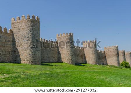 Detail of the Avila wall. Avila, Castile and Leon, Spain - stock photo