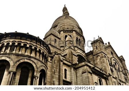 Detail of the Basilica of the Sacred Heart of Paris, commonly known as Sacre Ceour, dedicated to the Sacred Heart of Jesus, in Paris, France - stock photo