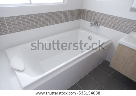 Detail Of The Bath Tub In Bathroom
