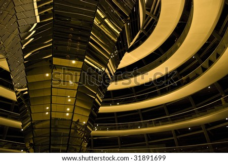 detail of the beautiful cupola of the Reichstag - stock photo