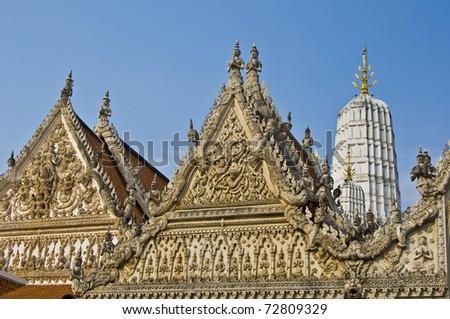 detail of the beautiful temple area Wat Mahathat in Phetchaburi - stock photo