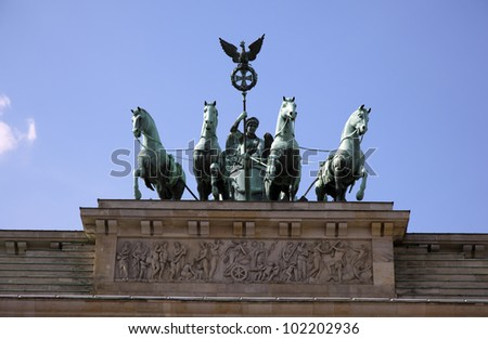 detail of the brandenburg tower - stock photo