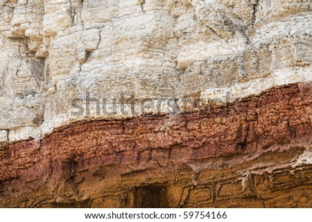detail of the carstone and red chalk cliffs, hunstanton