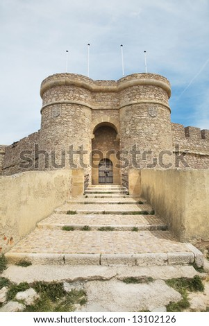 detail of the castle at chinchilla village in albacete spain