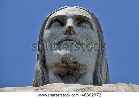 Detail of the Christ the Reedemer statue, Corcovado, Rio de Janeiro, Brazil - stock photo