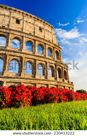 Detail of the Colosseum in Rome, Italy - stock photo