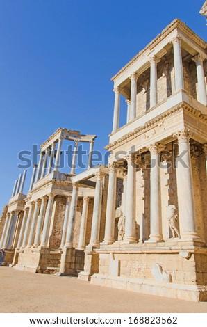 Detail of the columns of the roman amphitheater of Merida. Emerita augusta, Badajoz, Extremadura, Spain - stock photo