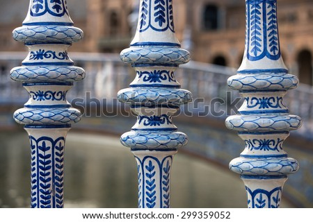 Detail of the Delft Blue bridges in the Plaza Espana of Seville, Spain - stock photo