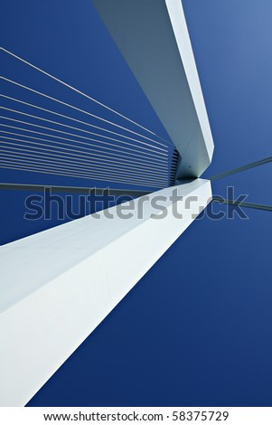 Detail of the Erasmus Bridge, the Netherlands - stock photo
