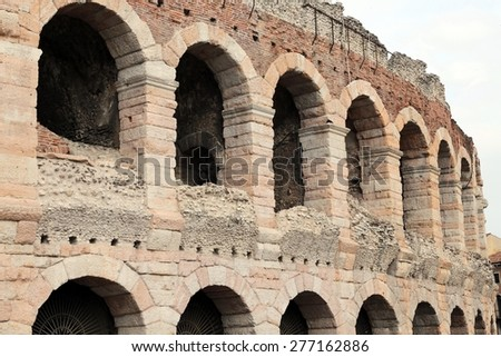 detail of the exterior walls of the ancient Roman Arena in Verona in Italy