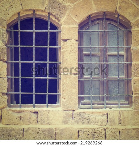 Detail of the Facade in Jaffa, Israel, Instagram Effect - stock photo