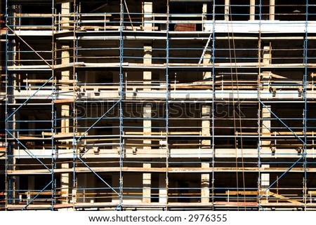 Detail of the facade of a building in construction - stock photo