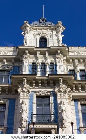 Detail of the Facade of an Art Nouveau Palace in Riga, Latvia - stock photo