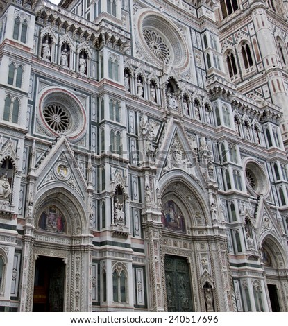 Detail of the facade of Basilica of Saint Mary of the Flower, ordinarily called Il Duomo di Firenze - stock photo