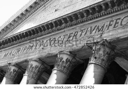 Detail of the facade of Pantheon in Rome, Italy