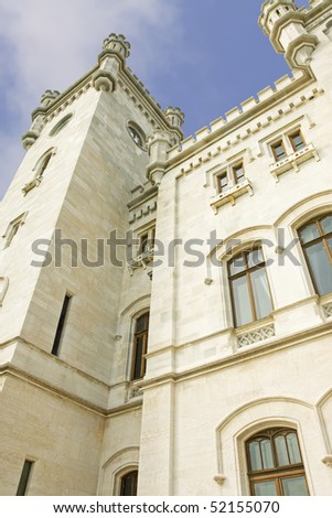 Detail of the facade of the castle of Miramare in Trieste (Italy)