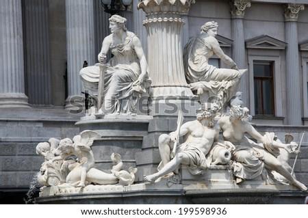 Detail of the famous Athena Fountain in Vienna, Austria.  - stock photo