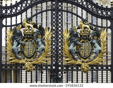 Detail of the gate at Buckingham Palace in London, UK. - stock photo
