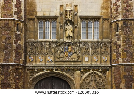 Detail of the great gate entrance of Trinity College in Cambridge, United Kingdom. - stock photo