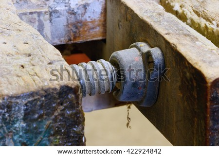 Detail of the grip device at the joiner workbench - stock photo