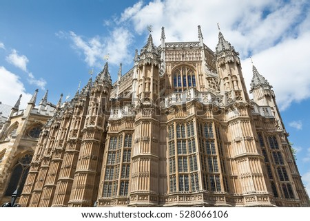 Detail of the Houses of Parliament in London, UK