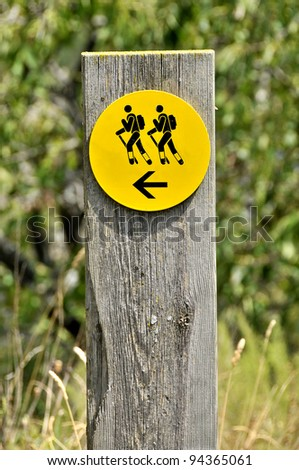 Detail of the indicators for excursionists' routes in the Catalan Pirineo - stock photo