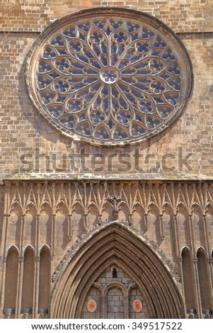 Detail of the large window on the main facade of Santa Maria del Pi church in Barcelona, Catalonia, Spain - stock photo