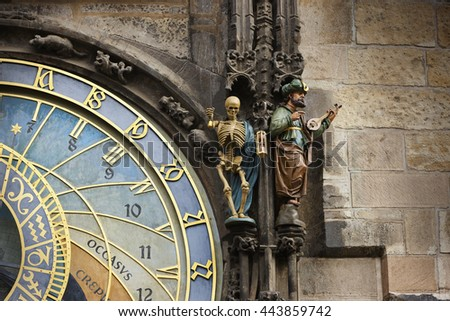 Detail of the medieval Prague Astronomical Clock of the Old Town Hall, Czech Republic.