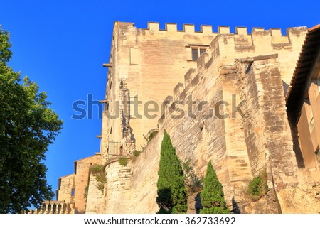 Detail of the medieval protecting the old town of Avignon, Provence, France - stock photo