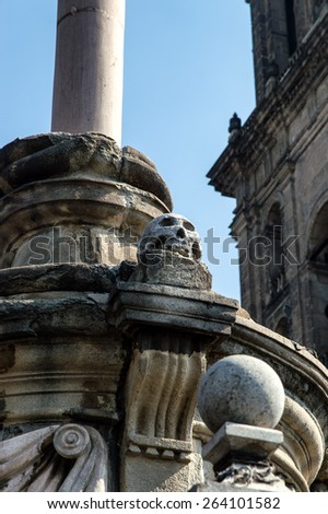 Detail of The Metropolitan Cathedral (Cathedral Metropolitana) in Mexico City - stock photo