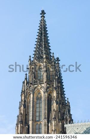 Detail of the Metropolitan Cathedral of Saints Vitus, Wenceslaus and Adalbert. Prague. Czech Republic. - stock photo
