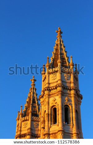 Detail of the monastery located at Belem in Lisbon - stock photo