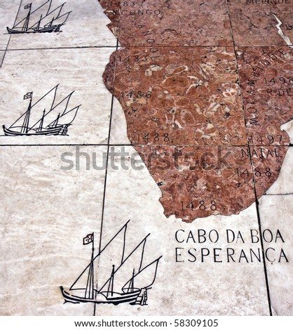 """Detail of the mosaic in front of the Monument to the Discoveries (""""Padrao dos Descobrimentos"""") in Lisbon - stock photo"""