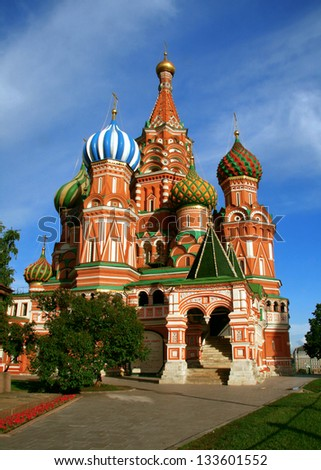 Detail of the most famous cathedral in Moscow and Red Square: Saint Basils Cathedral, just meters from the Kremlin.  Detalle de la catedral mas conocida de Moscu y la Plaza Roja a metros del Kremlin.  - stock photo