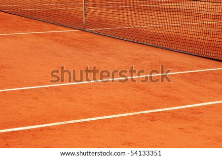 Detail of the net and the lines of a tennis court - stock photo