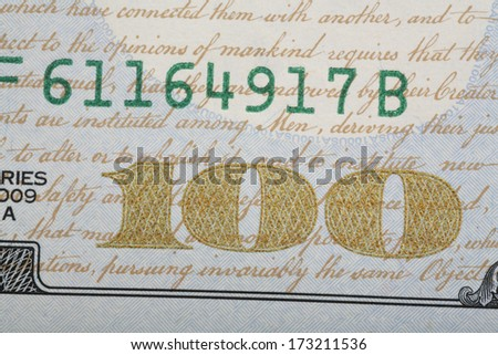 detail of the new design of USA One Hundred Dollar Bill.  - stock photo