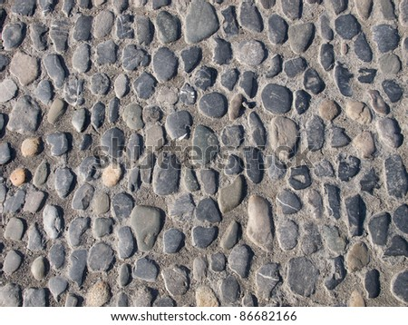 Detail of the paved road structure - stock photo