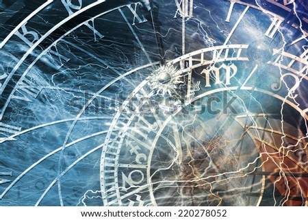 Detail of the Prague Astronomical Clock in thePrague Old Town - stock photo