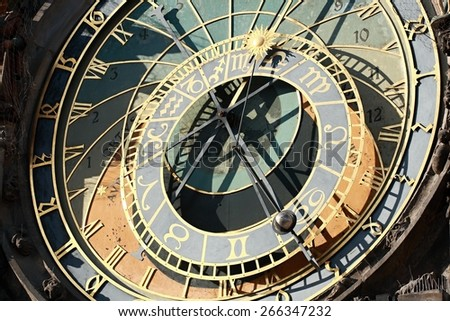 Detail of the Prague Astronomical clock (or Prague Orloj) - a medieval landmark mounted on the wall of Old Town City Hall in Prague, Czech Republic. The clock was first installed in 1410. - stock photo