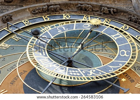 Detail of the Prague Astronomical Clock (Orloj) in the Old Town of Prague, Czech Republic. - stock photo