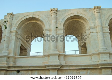 Detail of the Roman arena in Arles, Provence - France