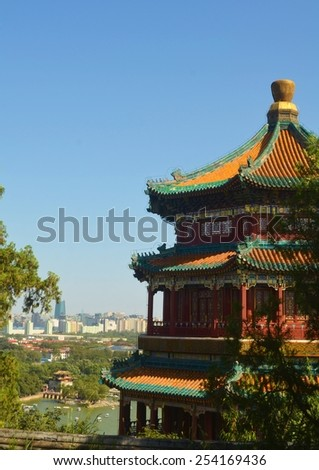 detail of the roof in the new summer palace complex in beijing. - stock photo