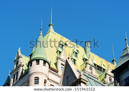 Detail of the roof of the castle like Chateau Frontenac Hotel in old Quebec City, Canada. - stock photo