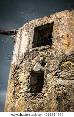 Detail of the ruin of an old windmill - stock photo