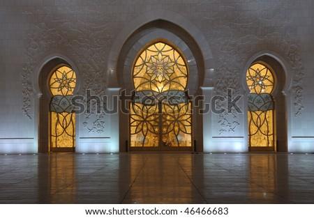 Detail of the Sheikh Zayed Mosque at night. Abu Dhabi, United Arab Emirates - stock photo