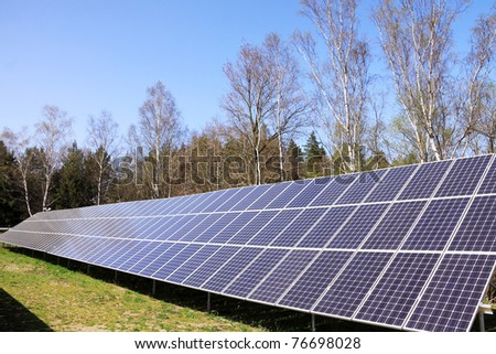 Detail of the Solar Power Station in the green spring Nature
