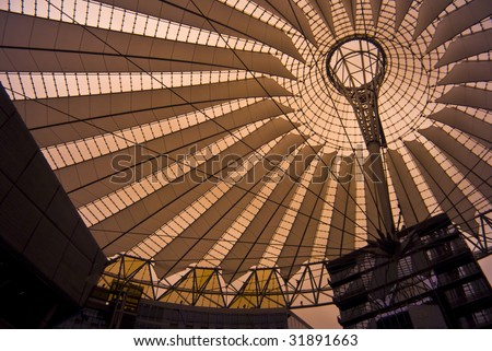 detail of the Sony Center in Berlin, photo taken with an infrared filter - stock photo