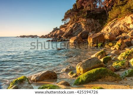 Detail of the Spanish coast (Costa Brava) - stock photo
