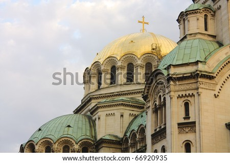 Detail of  the St. Alexander Nevsky Cathedral, a Bulgarian Orthodox cathedral in Sofia, the capital of Bulgaria. Is one of the largest Eastern Orthodox cathedrals in the world - stock photo